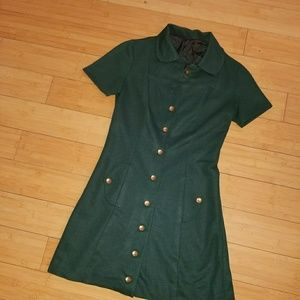 1970s Hunter Green Girl Scout Dress